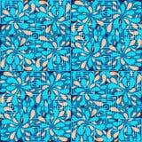 Den abstrakta sömlösa modellen med cirklar, kvadrerar och virvlar runt vektor illustrationer