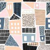 Den abstrakta sömlösa modellen med hus med den drog handen texturerar och formar Göra perfekt för tyg textil tapet Vektorillustra royaltyfria bilder