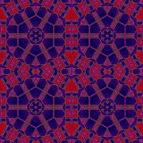 Den abstrakta sömlösa sexhörningen smyckar den röda purpurfärgade teckningen Arkivfoton