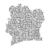 Den abstrakta schematiska översikten av Elfenbenskusten från svarten skrivev ut boaen stock illustrationer