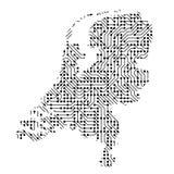 Den abstrakta schematiska översikten av Nederländerna från svarten skrivev ut boaen vektor illustrationer