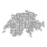 Den abstrakta schematiska översikten av Schweiz från svarten skrivev ut boaen vektor illustrationer