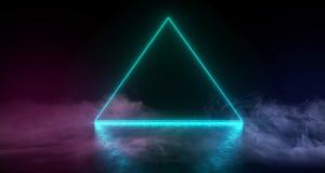 Den abstrakta Sci Fi moderna futuristiska triangeln formade glödande blomljus för neon i mörkt tomt utrymme med rök och dimma på  royaltyfri illustrationer