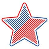 Den abstrakta stjärnan för vektordesignbeståndsdel med amerikanska flaggan Arkivfoton
