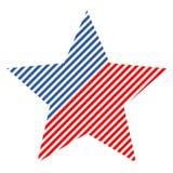 Den abstrakta stjärnan för vektordesignbeståndsdel med amerikanska flaggan Royaltyfria Bilder