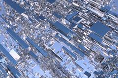 Den abstrakta tolkningen 3d av krom formar mot himmel arkivfoto