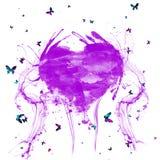 Den abstrakta vattenfärgen plaskar purpurfärgad hjärta Hjärta med färgrika fjärilar stock illustrationer