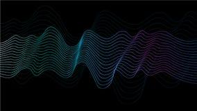 Den abstrakta vektorvågen fodrar gröna, blåa och purpurfärgade färger som isoleras på svart bakgrund för designbeståndsdelar i te stock illustrationer