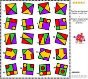 Den abstrakta visuella gåtan - finna två identiska bilder i varje rad Arkivbild