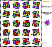Den abstrakta visuella gåtan - finna två identiska bilder i varje rad Arkivbilder
