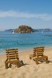 den acapulco stranden chairs mexico Royaltyfri Fotografi