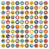 Den affärs-, ledning- och teknologisymbolen ställde in för websites och mobila applikationer Plan vektor stock illustrationer