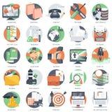 Den affärs-, teknologi- och finanssymbolen ställde in för websites och mobilapplikationer och service Plan vektor stock illustrationer