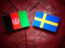 Den Afghani flaggan med svensk sjunker på en trädstubbe Arkivfoto