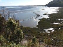Den Afon Taf breda flodmynningen på Laurghne royaltyfria bilder