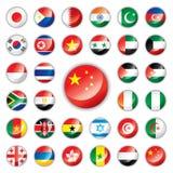den africa asia knappen flags glansigt Arkivfoto
