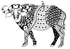 Den afrikanska buffeln med en fågel på hans baksida, zentangle stiliserade, vec Fotografering för Bildbyråer