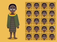 Den afrikanska för den Toposa för stamkläderkvinnlign emoticonen tecknade filmen vänder mot vektorillustrationen Arkivbild