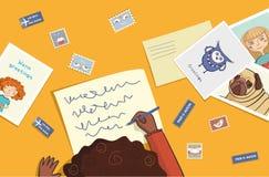 Den afrikanska flickan skrivar ett brev royaltyfri illustrationer