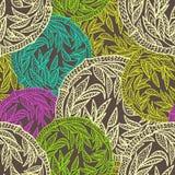 Den afrikanska geometriska blom- sömlösa prydnaden cirklar bambu Stock Illustrationer