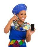 Den afrikanska kvinnan kallar mig tecknet Arkivbild