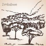 Den afrikanska sikten skissar stock illustrationer