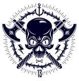 Den aggressiva skallen piratkopierar emblemet Jolly Roger med vapen och andra designbeståndsdelar stock illustrationer