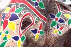 den ahmedabad elefanten målade rathyatra Arkivbild