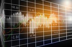 Den aktiemarknad- eller forexhandelgrafen och ljusstaken kartlägger passande för begrepp för finansiell investering arkivfoton
