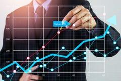 Den aktiemarknad- eller forexhandelgrafen och ljusstaken kartlägger passande för begrepp för finansiell investering Ekonomi tende arkivfoto