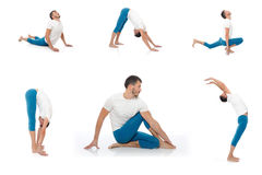 den aktiva görande konditiongruppmannen poserar yoga arkivbilder