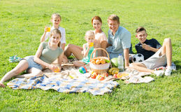 Den aktiva stora familjen som har picknicken på grön gräsmatta parkerar in Arkivfoton