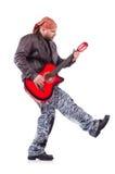 den akustiska detaljgitarrgitarristen hands instrumant musikaliskt leka för aktör Royaltyfri Bild