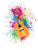Den akustiska gitarren med målarfärg plaskar illustrationen Royaltyfria Bilder