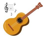 6 stränga den akustiska gitarren Fotografering för Bildbyråer