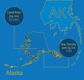 Den Alaska 3D vektorn kartlägger grafiskt info Arkivbild
