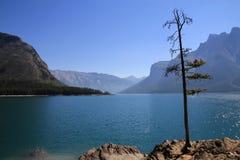 den alberta banff Kanada laken lokaliserade minnewankanationalparken Arkivfoto