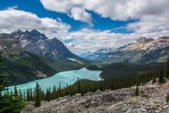 den alberta banff Kanada laken lokaliserade nationalparkpeyto Royaltyfria Foton