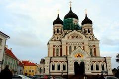 Den Alexander Nevsky kyrkan i Tallinn Fotografering för Bildbyråer