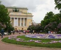 Den Alexandrinsky teatern i St Petersburg Arkivbild