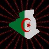 Den Algeriet översiktsflaggan på rött förhäxer kodbristningsillustrationen royaltyfri illustrationer