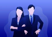 Den allvarliga affärsmannen och kvinnan står stock illustrationer