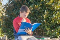 Den allvarliga tonårs- pojken med läroböcker och anteckningsböcker som gör läxa och förbereder sig för examen i, parkerar arkivfoton