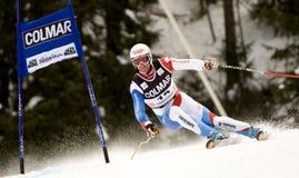 den alpina Alta Badia koppjätten skidar slalomvärlden Arkivbild