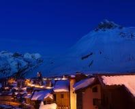 den alpsfrance semesterorten skidar tignes Fotografering för Bildbyråer