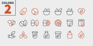 Den alternativa vektorn för PIXELet för medicin UI Brunn-tillverkade Perfect fodrar thin symboler 48x48 som är klara för rastret  vektor illustrationer