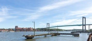 Den Alvsborgs bron och Roda sten område i Göteborg Arkivfoto