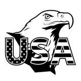 Den amerikanska örnen med USA stiliserade bokstäver Royaltyfri Bild