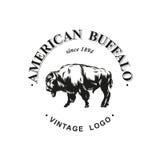 Den amerikanska buffellogoen inked vektorn Royaltyfria Bilder