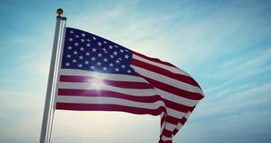 Den amerikanska flaggan som viftar i Förenta staterna visar självständighet - video 4 000 fps stock illustrationer